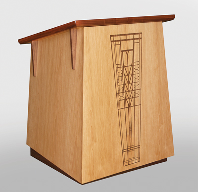 MLTC 30 Tapered Prairie Style Lectern In Hickory With Walnut Trim