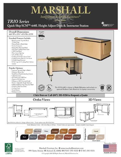 SCM™-640L Height Adjust Desk & Instructor Station Cutsheet