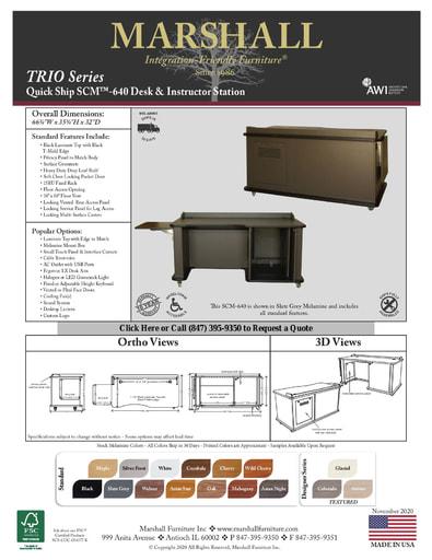 SCM™-640 Desk & Instructor Station Cutsheet
