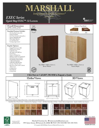 EXEC™-32 Lectern Cutsheet