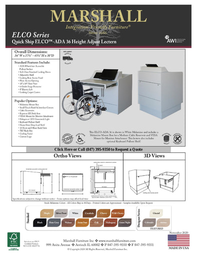 ELCO™-ADA 36 Height Adjust Lectern Cutsheet