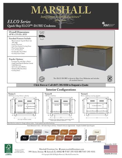 ELCO™-D17RU Credenza Cutsheet