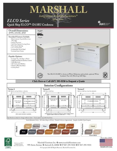 ELCO™-D13RU Credenza Cutsheet