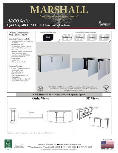 ARCO™-FIT CR3 Low Profile Credenza Cutsheet