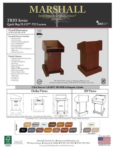 ELCO™-T25 Lectern Cutsheet