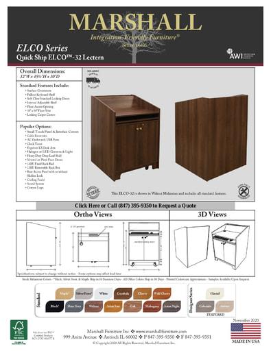 ELCO™-32 Lectern Cutsheet