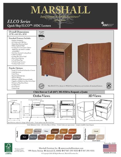 ELCO™-35DC Lectern Cutsheet