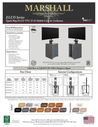 ELCO™-VTC 27/41 Mobile Carts & Credenzas Cutsheet