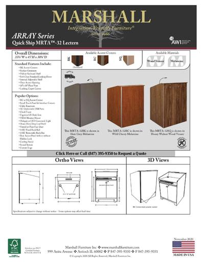 MRTA™-32 Lectern Cutsheet