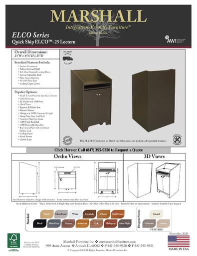 ELCO™-25 Lectern Cutsheet