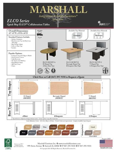 ELCO™ COLLAB Series Collaboration Tables Cutsheet