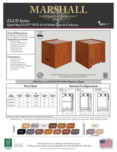 ELCO™-DUO 12/16 Mobile Carts & Credenzas Cutsheet