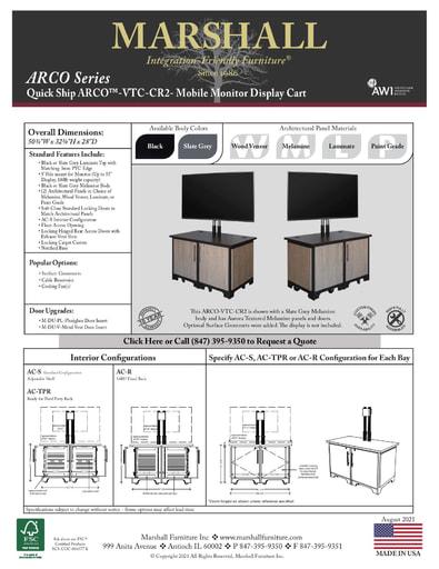 ARCO™-VTC-CR2 Mobile Monitor Display Cart Cutsheet