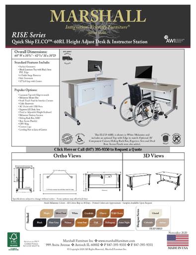 ELCO™-60RL Height Adjust Desk & Instructor Station Cutsheet