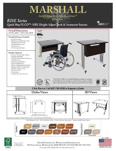ELCO™-35RL Height Adjust Desk & Instructor Station Cutsheet