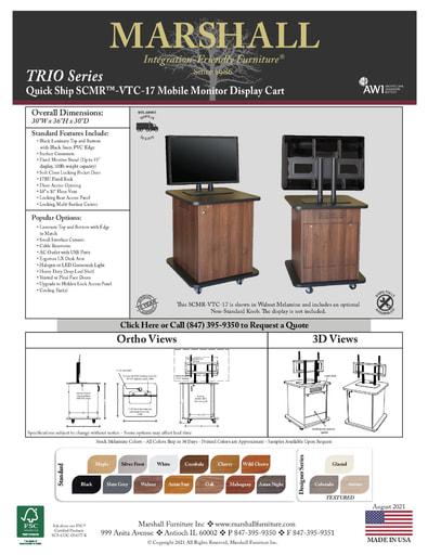 SCMR™-VTC-17 Mobile Monitor Display Cart Cutsheet