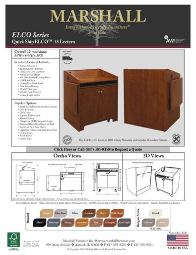 ELCO™-35 Lectern Cutsheet