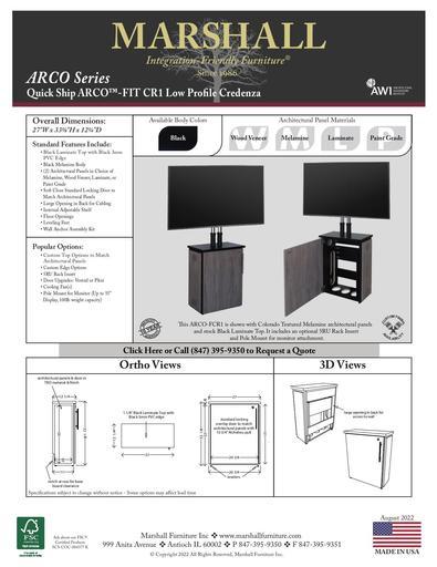 ARCO™-FIT CR1 Low Profile Credenza Cutsheet