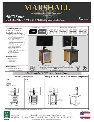 ARCO™-VTC-CR1 Mobile Monitor Display Cart Cutsheet