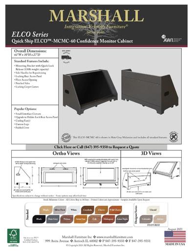 ELCO™-MCMC-60 Confidence Monitor Cabinet Cutsheet