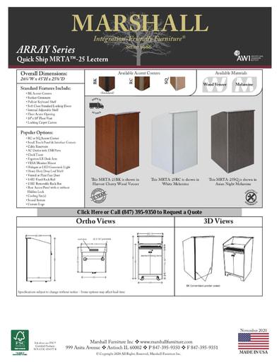 MRTA™-25 Lectern Cutsheet