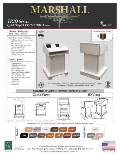 ELCO™-T25RC Lectern Cutsheet