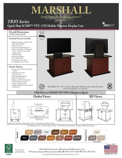 SCMR™-VTC-17D Mobile Monitor Display Cart Cutsheet