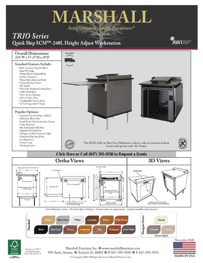 SCM™-240L Height Adjust Workstation Cutsheet