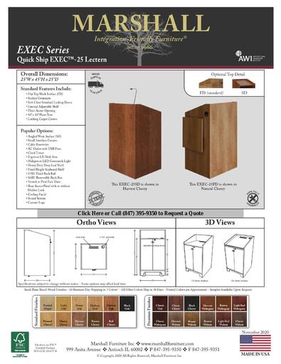 EXEC™-25 Lectern Cutsheet