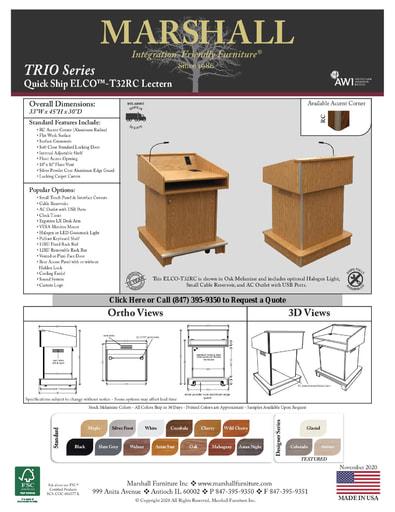 ELCO™-T32RC Lectern Cutsheet