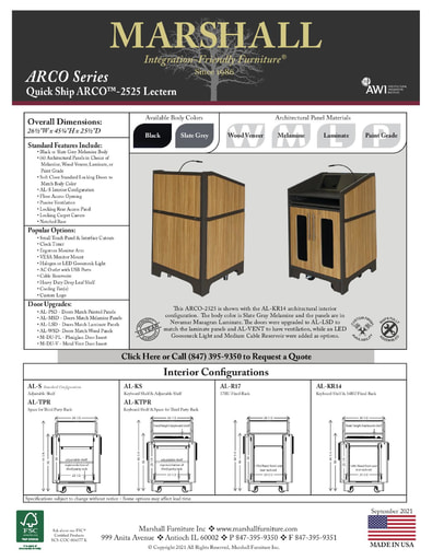 ARCO™-2525 Lectern Cutsheet