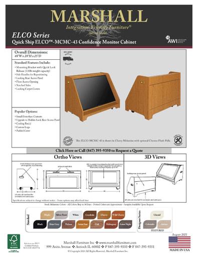 ELCO™-MCMC-43 Confidence Monitor Cabinet Cutsheet