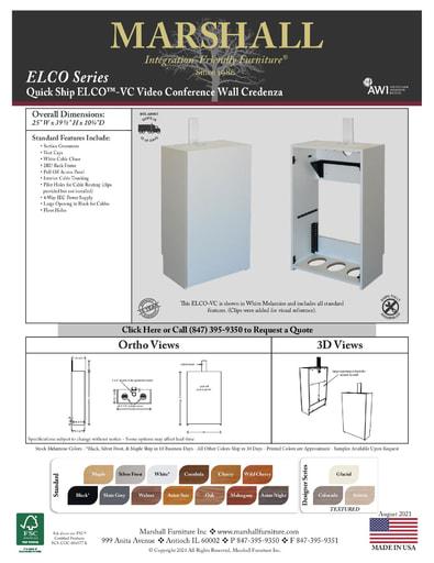 ELCO™-VC Video Conference Wall Credenza Cutsheet