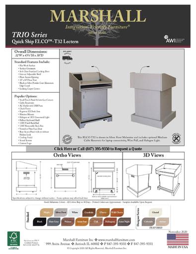 ELCO™-T32 Lectern Cutsheet