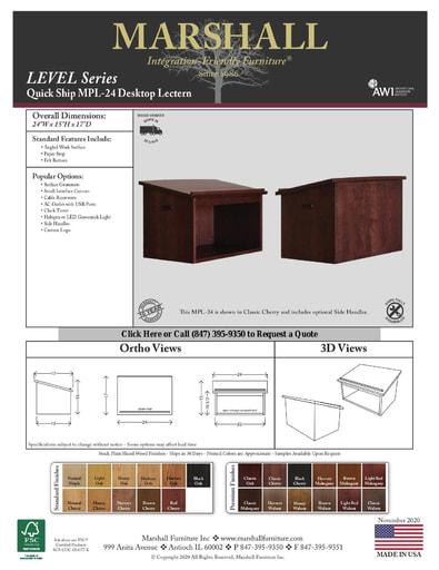 MPL-24 Desktop Lectern Cutsheet