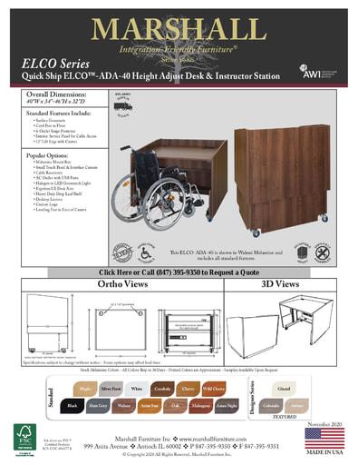 ELCO™-ADA-40 Height Adjust Desk & Instructor Station Cutsheet