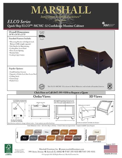 ELCO™-MCMC-32 Confidence Monitor Cabinet Cutsheet