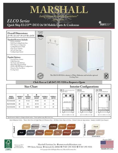 ELCO™-DUO 26/30 Mobile Carts & Credenzas Cutsheet