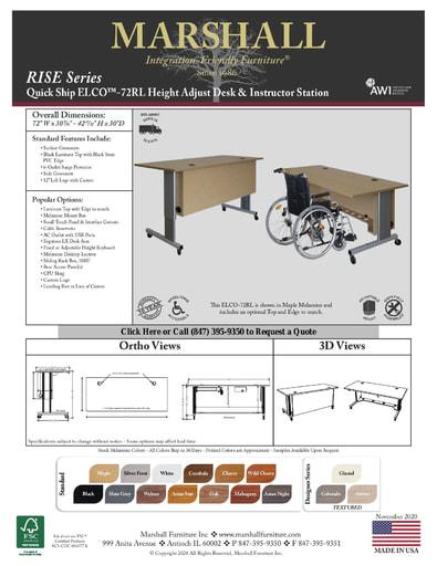 ELCO™-72RL Height Adjust Desk & Instructor Station Cutsheet