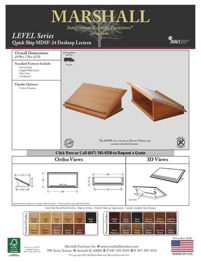 MDSF-24 Desktop Lectern Cutsheet