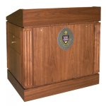 MLC-42 Column Style Lectern in Brown Walnut - Front View