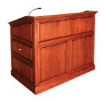 MRP-53 Raised Panel Style Lectern in Light Red Mahogany - Front View