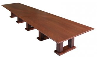 V-Shaped Video Conference Table in Classic Walnut