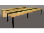 Rectangular Video Conference Table in Natural Maple - Top View