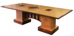 CTR 36x96 Rectangular Video Conference Table in Brown Walnut and Quarter Sawn Oak