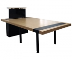 CTR 48x96 Rectangular Video Conference/Collaboration Table in Apple Ply and Black Laminate - Side Open View