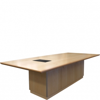 CTR 50x108 Rectangular Conference Table in Natural Maple - Angled View