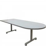 MCDST 38x96 D-Shaped Huddle/Collaboration Table in Storm Gray Matrix Laminate - Front Angle View