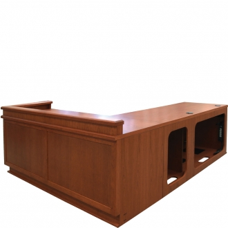 MDFP -80/120 Custom Flat Panel Style Desk in Harvest Cherry - Front View