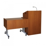 MDP-42 ADA Lift Desk with MLP-25 Lectern in Natural Mahogany - Front View